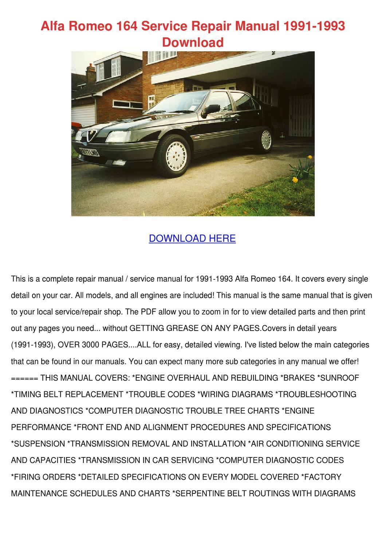 Alfa Romeo 164 Service Repair Manual 1991 199 By Karey