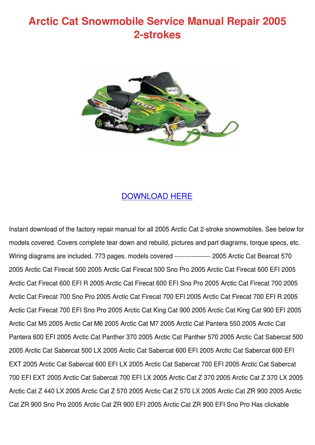Arctic Cat Snowmobile Service Manual Repair 2 By Karey Walcott Issuu 4 Stroke Wiring Diagrams