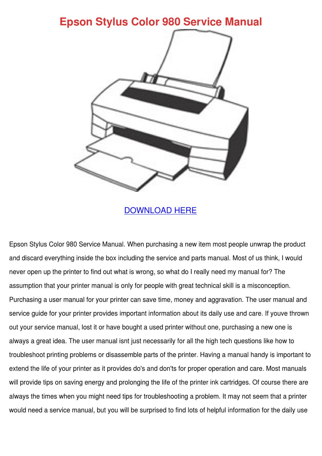 Epson Stylus Color 980 Service Manual by Britta Taunton - issuu