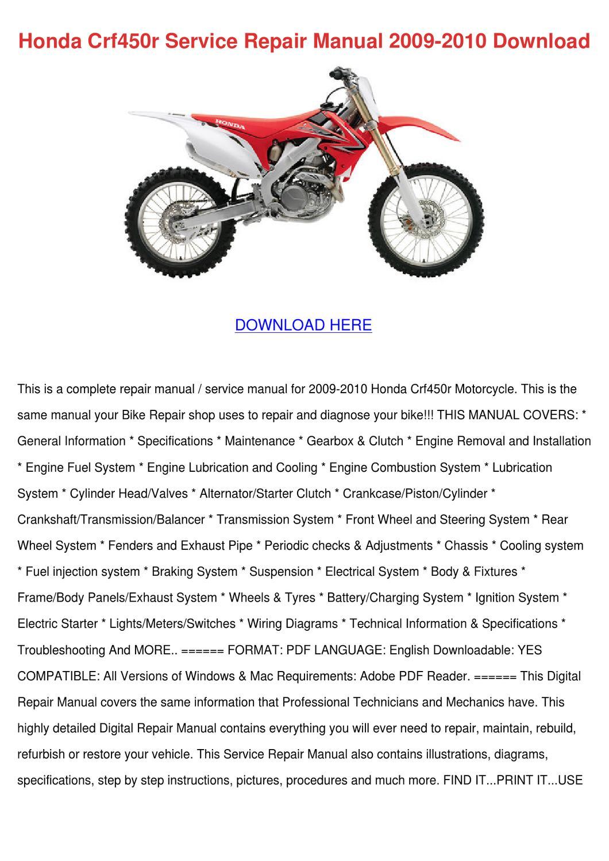 honda crf450r service repair manual 2009 2010 by britta. Black Bedroom Furniture Sets. Home Design Ideas