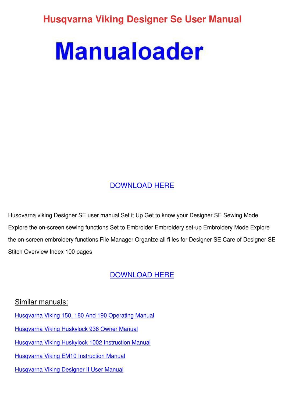 husqvarna viking sophia sewing machine manual