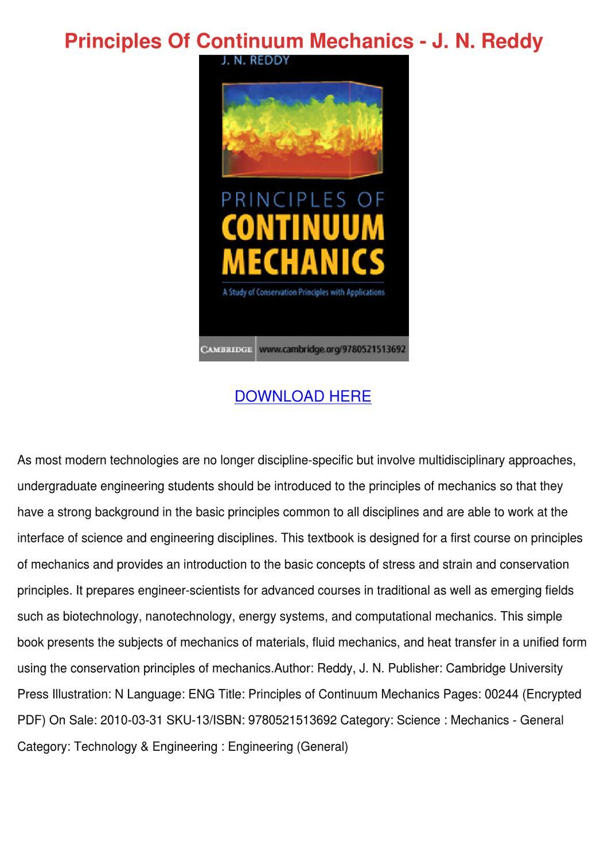 principles of continuum mechanics j n reddy by ayanna carnalla issuu rh  issuu com