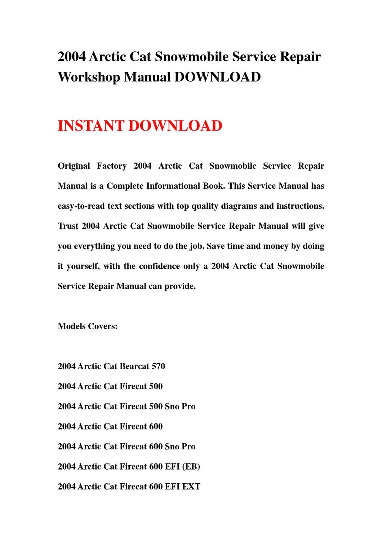 ... Array - 2004 arctic cat snowmobile service repair workshop manual  download rh issuu com