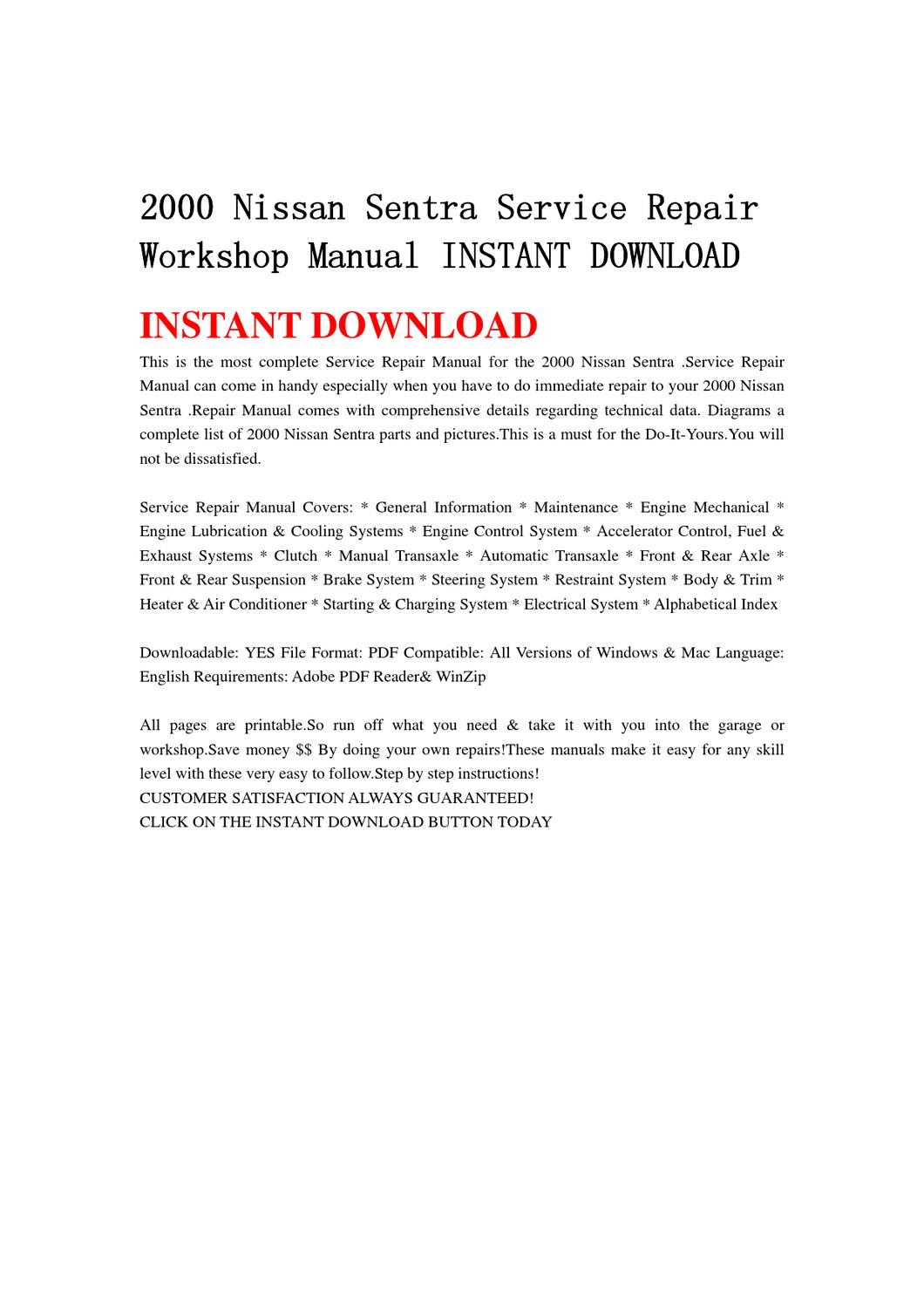2000 Nissan Sentra Service Repair Workshop Manual INSTANT DOWNLOAD by yu  jiew - issuu