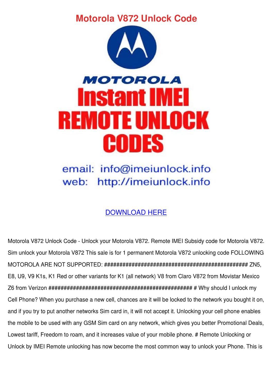 Motorola V872 Unlock Code by Barbra Sitze - issuu