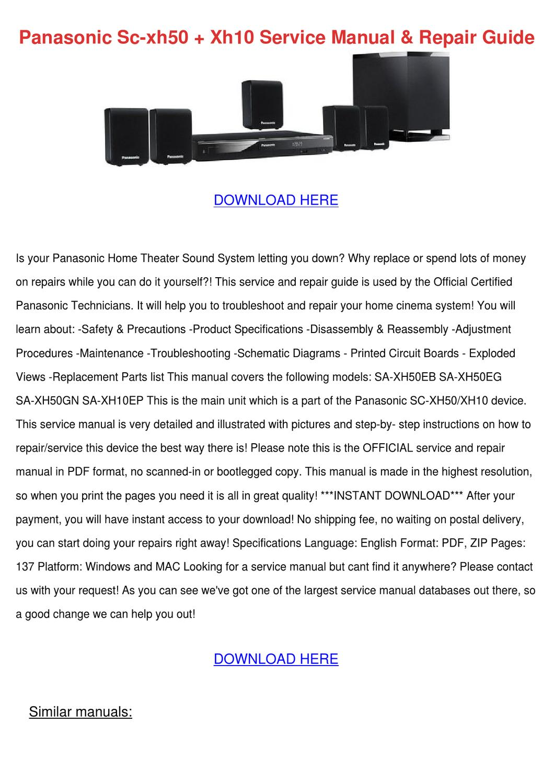 Panasonic Sc Xh50 Xh10 Service Manual Repair by Brandon Majer - issuu