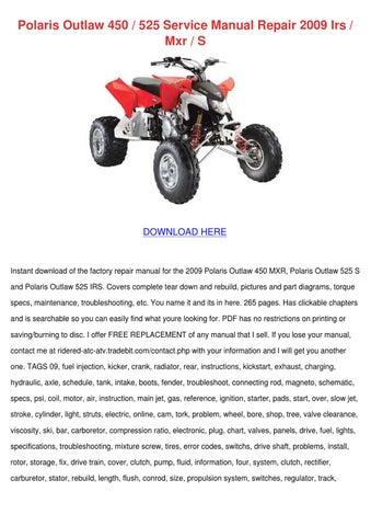 2009 polaris outlaw 450 mxr 525 s 525 irs workshop manual