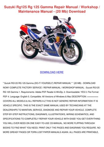 suzuki rg125 rg 125 gamma repair manual works by brandon majer issuu rh issuu com Airbrush Suzuki RGV 120 Suzuki 250 2 Stroke