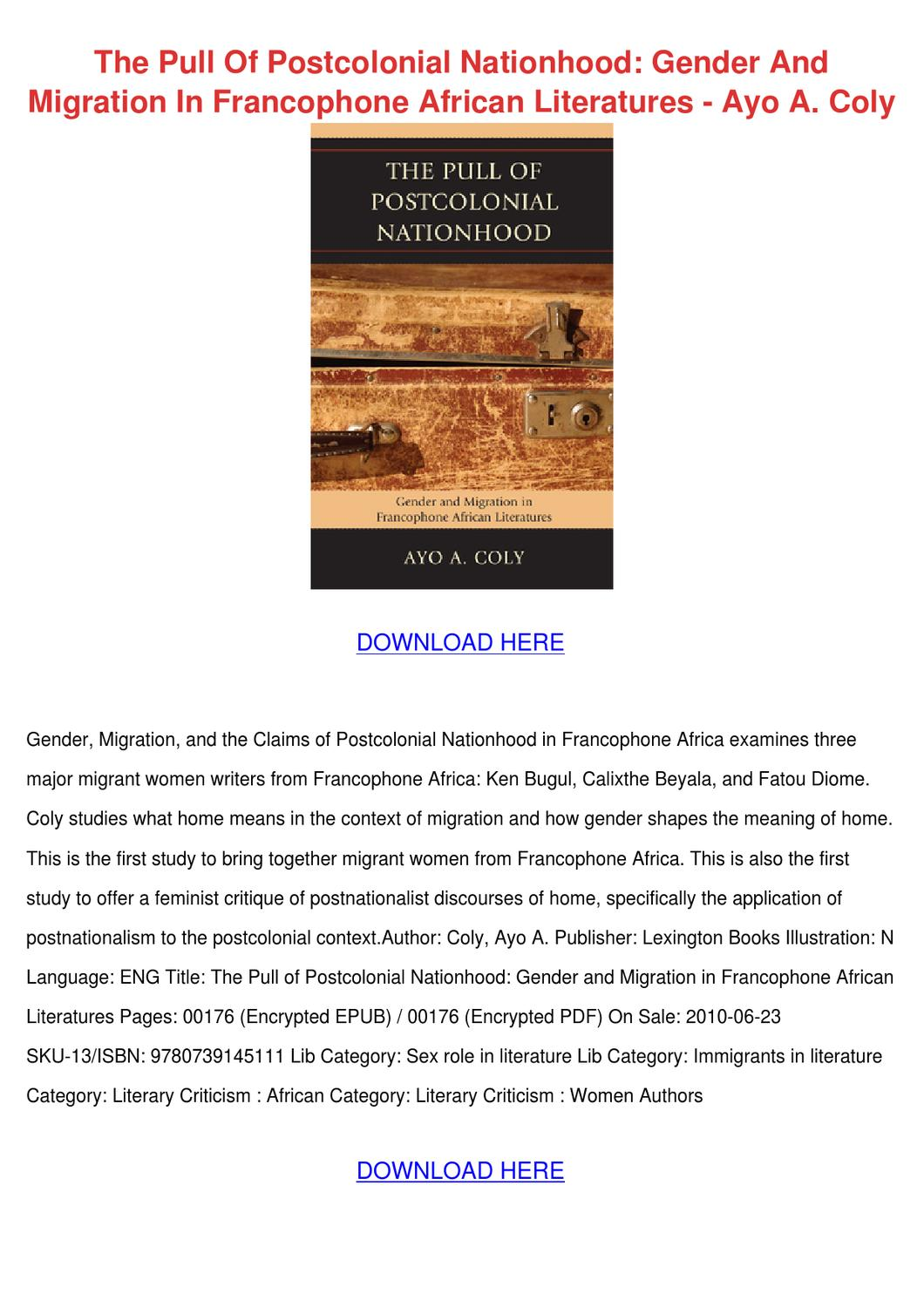 The Pull Of Postcolonial Nationhood Gender An by Jacque