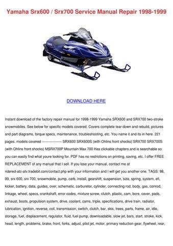 yamaha srx600 srx700 service manual repair 19 by jacque hildebrant rh issuu com 1998 yamaha srx 700 service manual 1998 yamaha srx 700 service manual