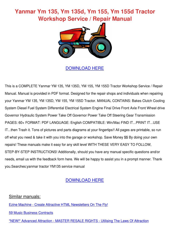 Yanmar Ym 135 Ym 135d Ym 155 Ym 155d Tractor by Jacque Hildebrant ...