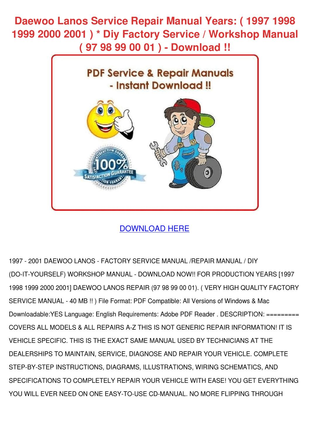 Service manual 2001 Daewoo Lanos Workshop Manuals Free