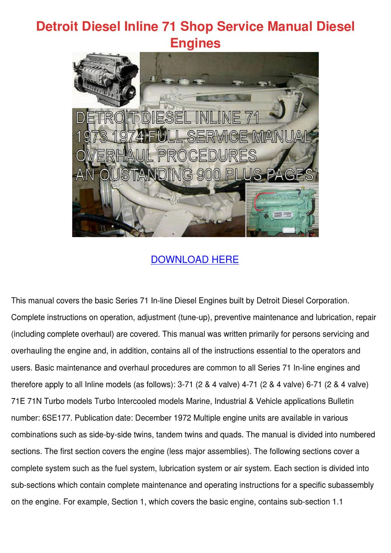 Detroit Diesel Inline 71 Shop Service Manual by Daniell Skoff - issuu