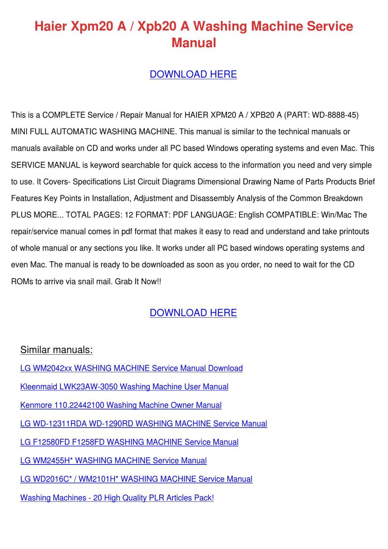 Haier Xpm20 A Xpb20 A Washing Machine Service by Daniell Skoff - issuu