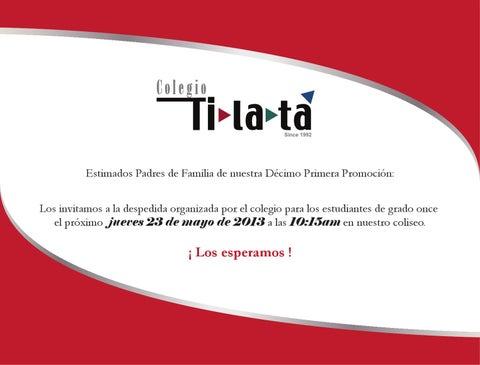 Invitación Despedida Once By Colegio Tilatá Issuu