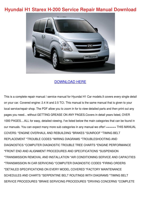 Hyundai H1 Starex H 200 Service Repair Manual By Vallie Barbar Issuu Wiring Diagram