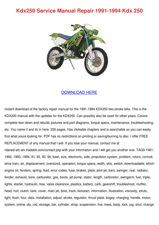 Kdx250 Service Manual Repair 1991 1994 Kdx 25 by Vallie Barbar - issuu