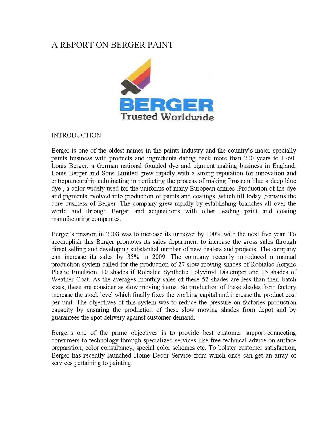 A Report On Berger Paint By Md Papon Issuu