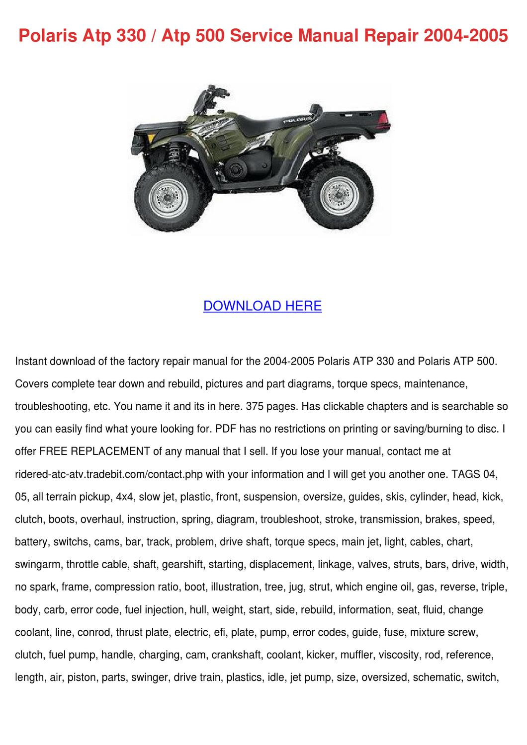 polaris atp 330 atp 500 service manual repair by tomeka rearick polaris atp 330 atp 500 service manual repair by tomeka rearick issuu