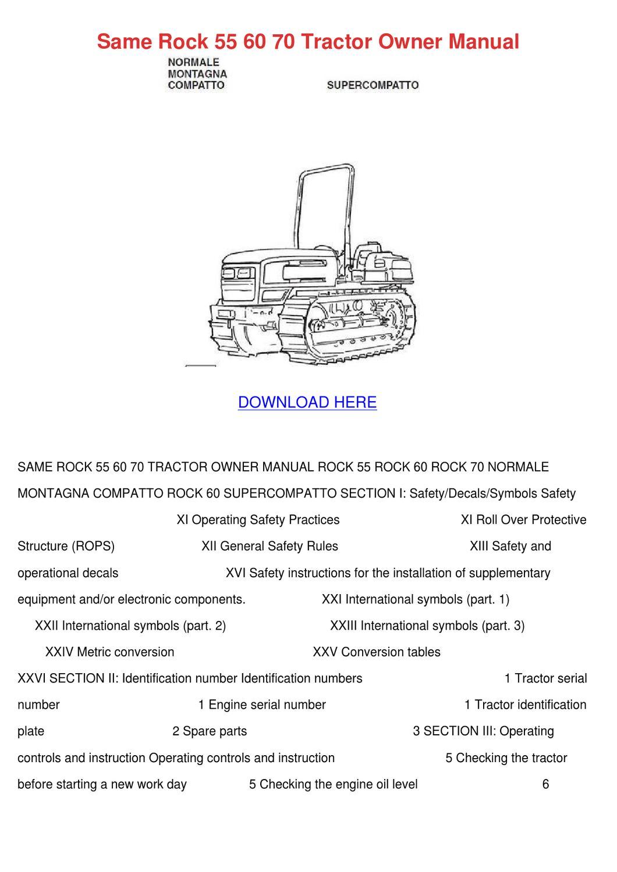 Same Rock 55 60 70 Tractor Owner Manual by Tomeka Rearick - issuu