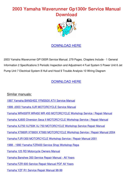 2003 Yamaha Waverunner Gp1300r Service Manual By Bari Capan