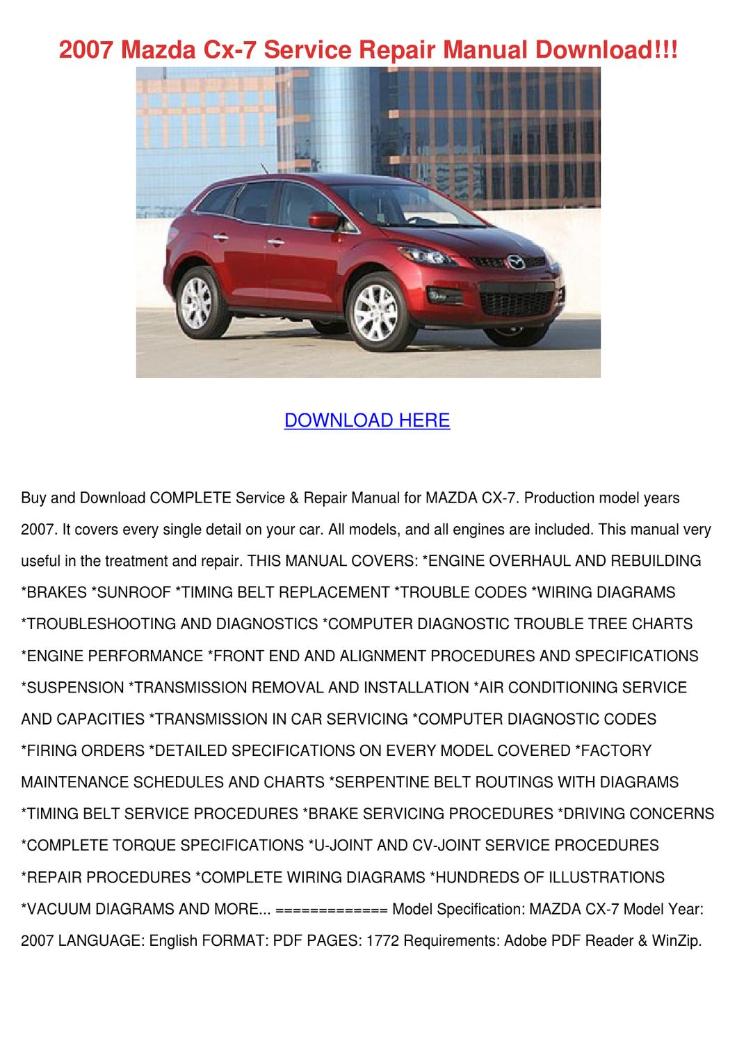 MAZDA CX-9 CX9 2007-2008 WORKSHOP SERVICE REPAIR MANUAL /& OWNER MANUAL