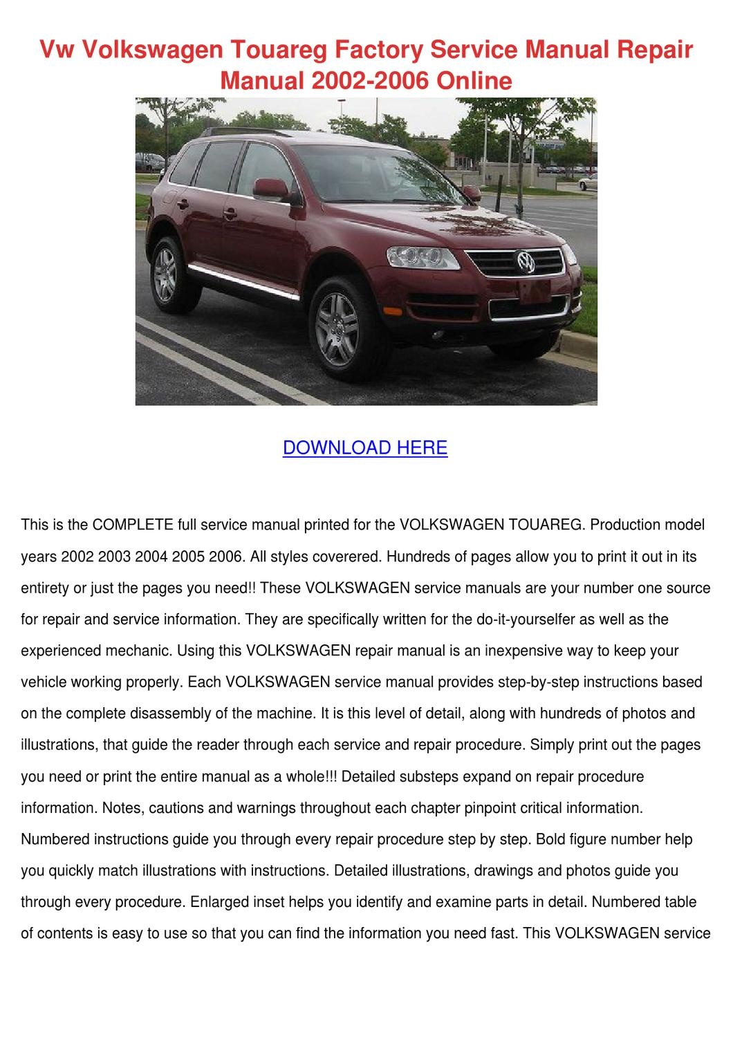 Vw Volkswagen Touareg Factory Service Manual by Yung Shellenbarger - issuu