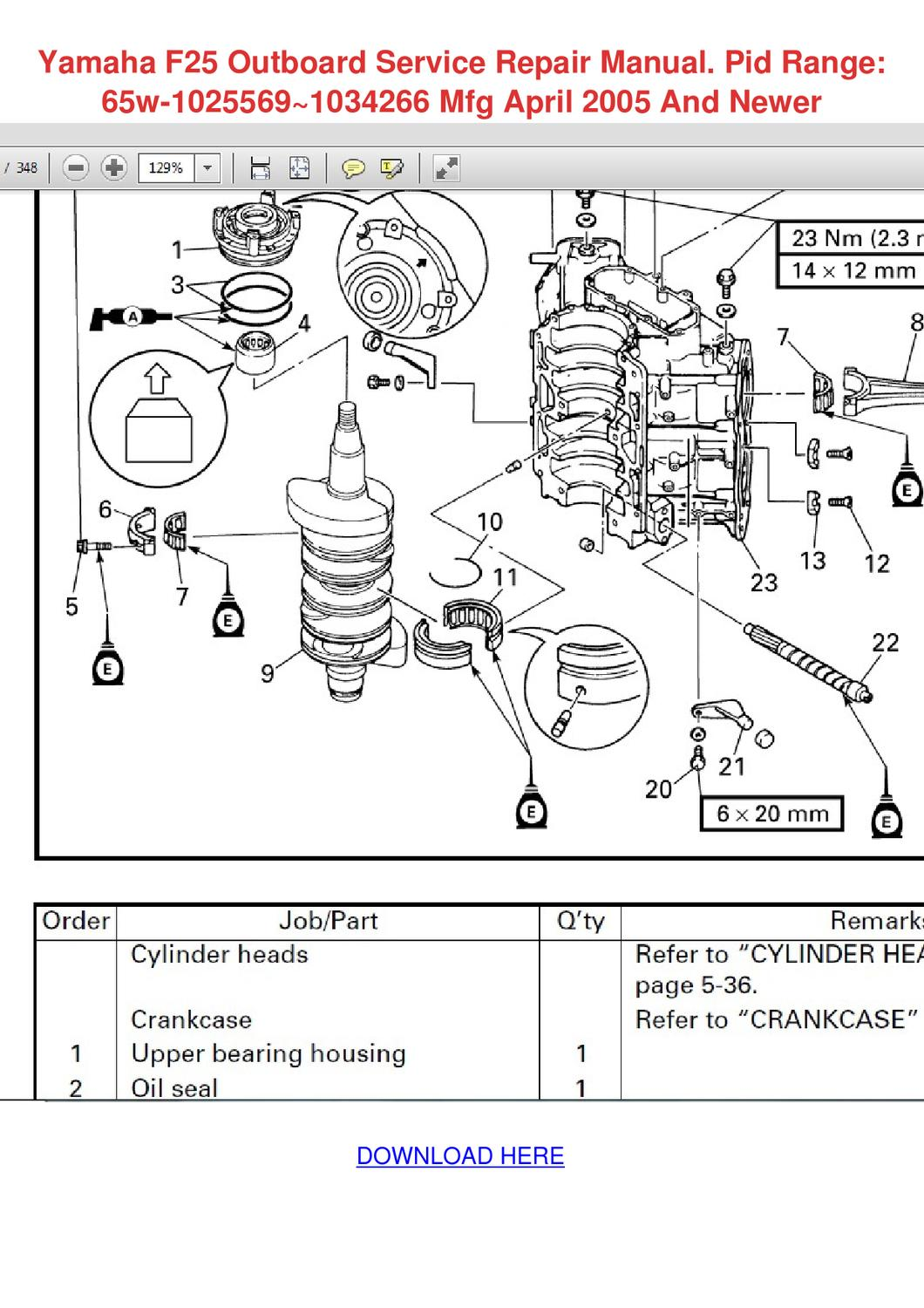 Yamaha f25 outboard service repair manual pid by yung for Yamaha outboard service