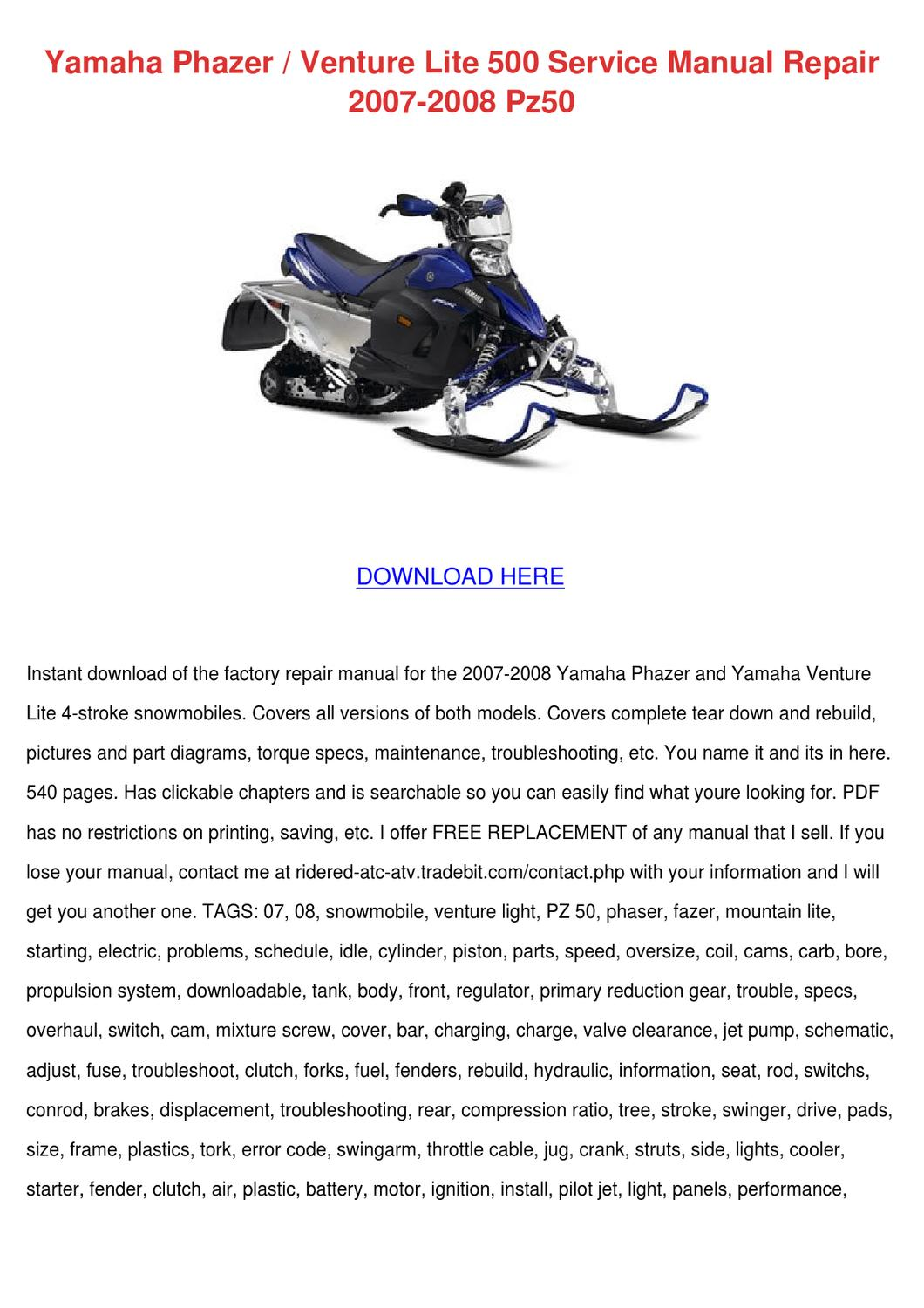 Yamaha Phazer Venture Lite 500 Service Manual by Yung Shellenbarger - issuu