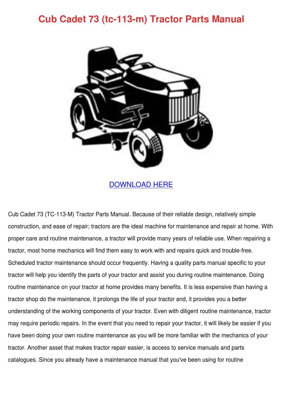 Cub Cadet 73 Tc 113 M Tractor Parts Manual by Francisca Norena - issuu