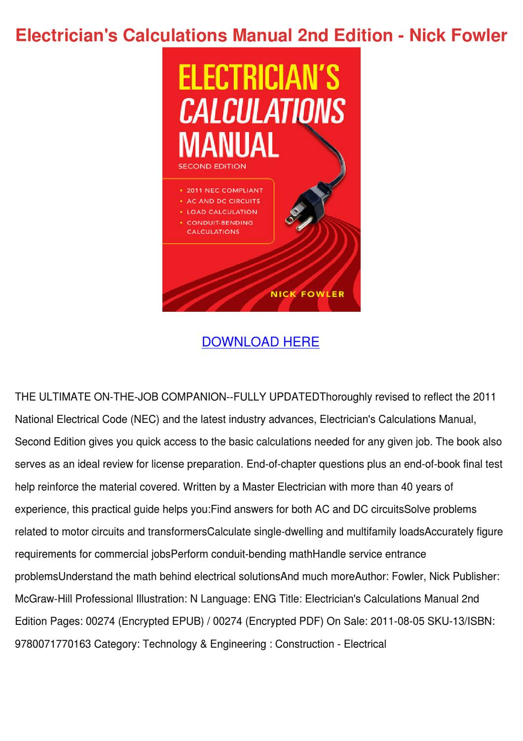 Electricians Calculations Manual 2nd Edition by Francisca Norena ...
