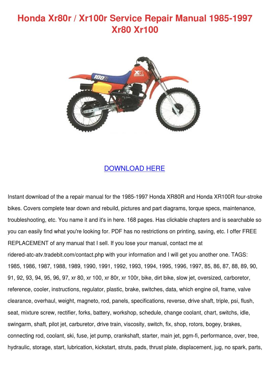 1997 Honda XR100R Owner/'s Owners Manual