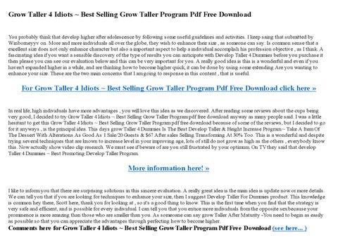Grow Taller 4 Idiots Best Selling Grow Taller Program Pdf Free