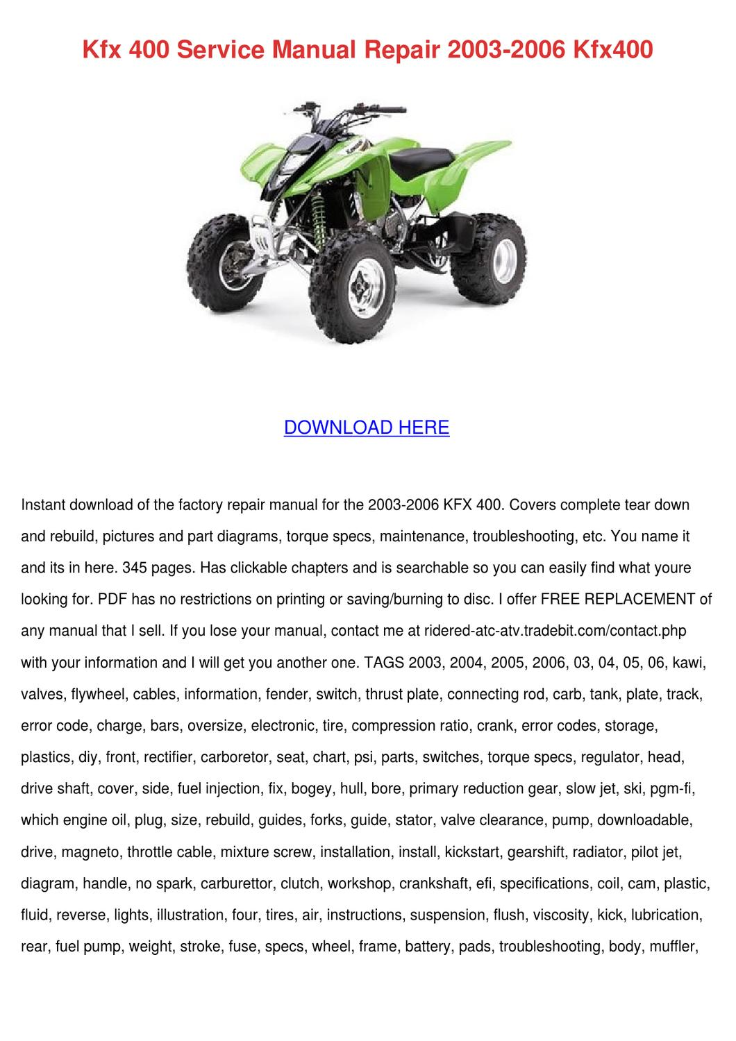 Kfx 400 Service Manual Repair 2003 2006 Kfx40 by Marylouise Calvillo - issuu