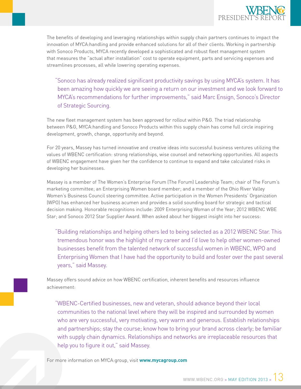 WBENC May 2013 President's Report by WBENC - issuu