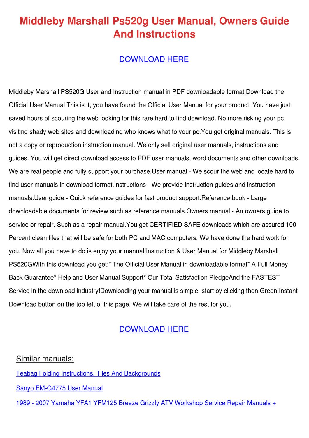 Middleby marshall Ps250 Manual