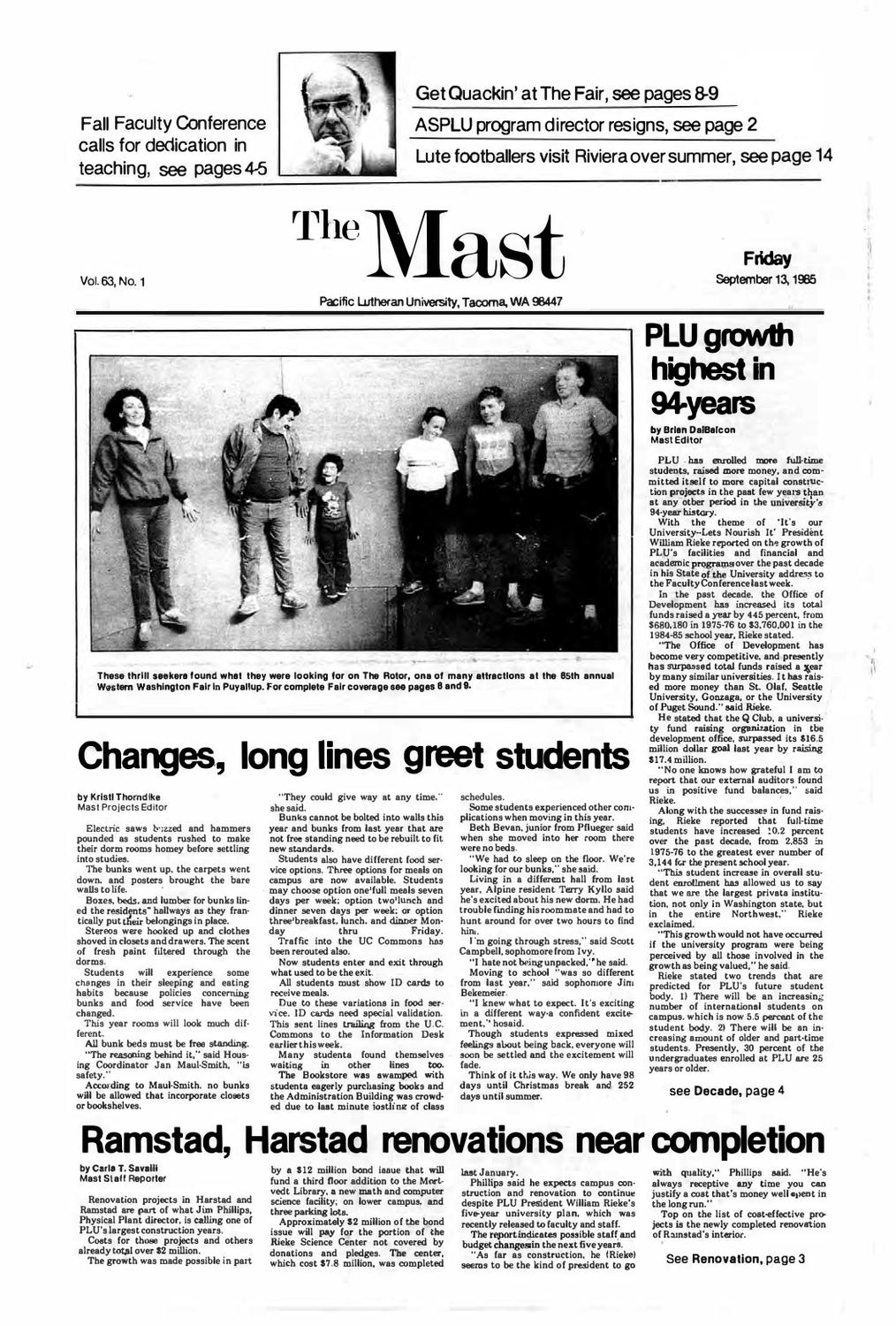 ecb4a846433e1 The Mast 1985-1986 by Pacific Lutheran University Archives - issuu