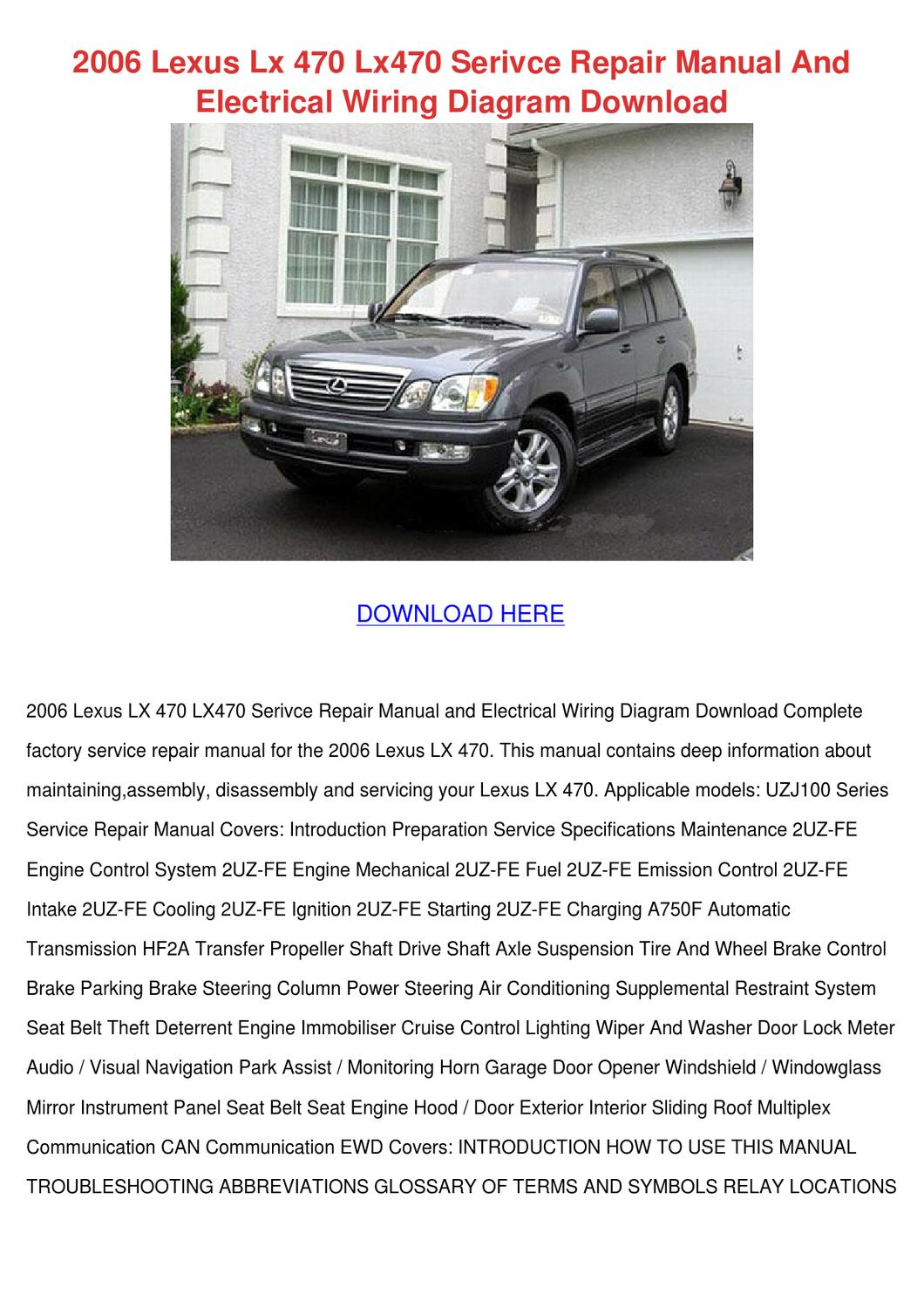 2006 Lexus Lx 470 Lx470 Serivce Repair Manual by Cassondra Santanna - issuu