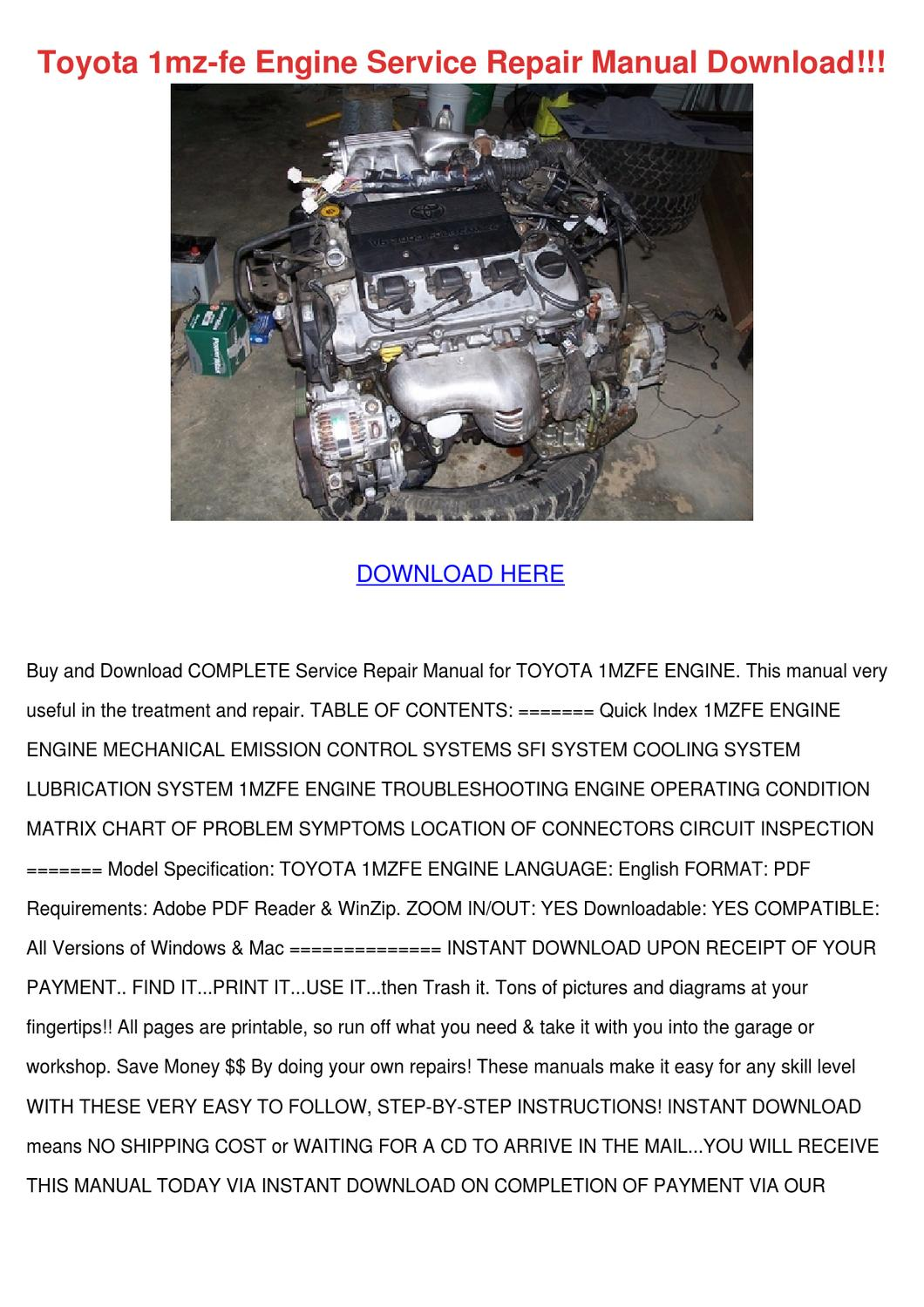 Toyota 1mz Fe Engine Service Repair Manual Do By Willette