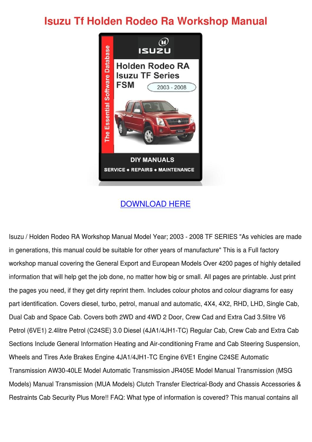 Isuzu Tf Holden Rodeo Ra Workshop Manual by Asia Hafter - issuu