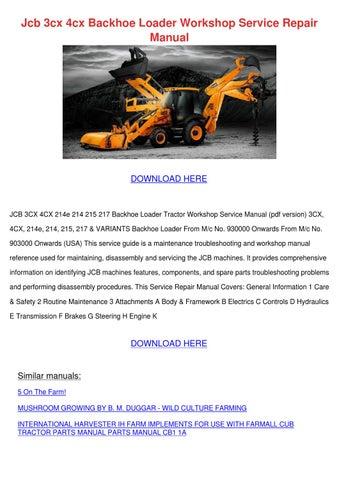 Jcb 3cx 4cx Backhoe Loader Workshop Service R by Asia Hafter - issuu