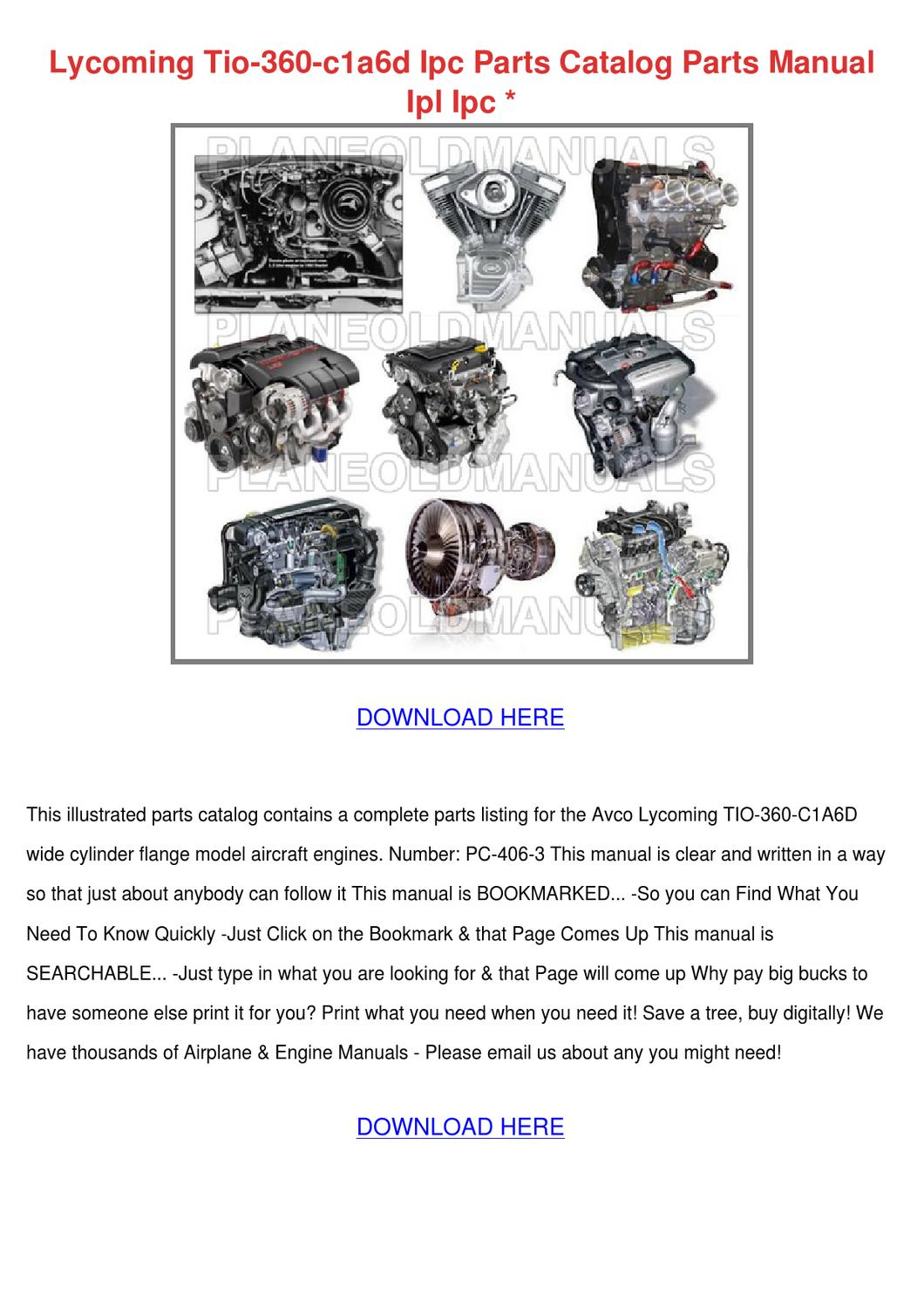 Lycoming Tio 360 C1a6d Ipc Parts Catalog Part by Asia Hafter - issuu