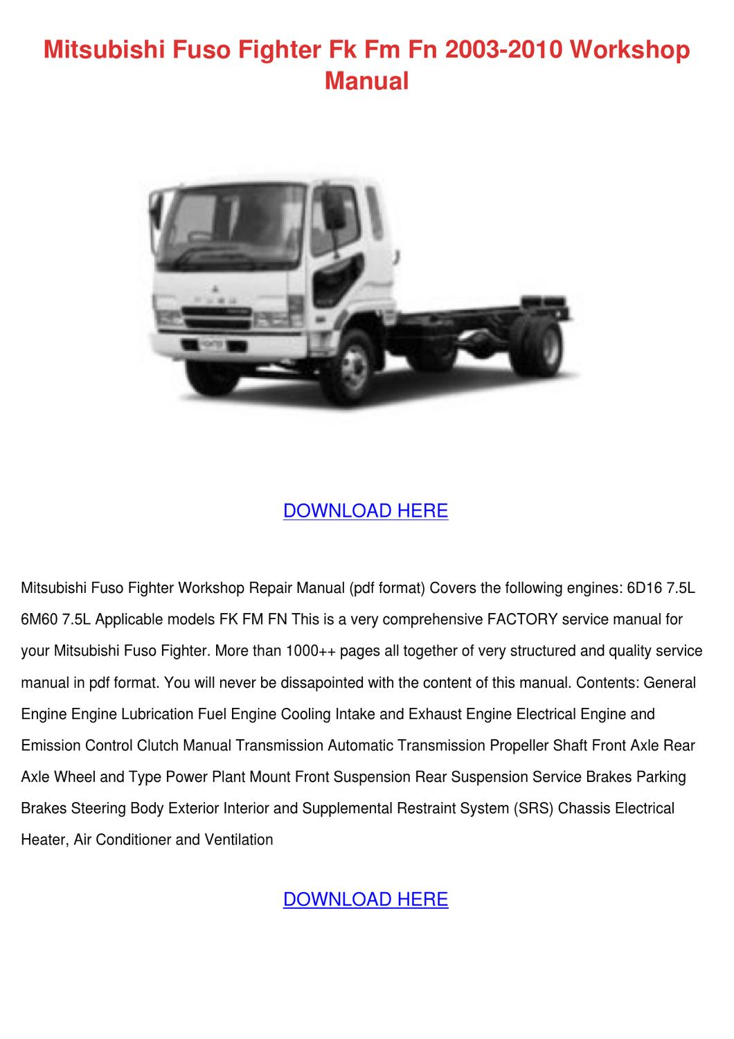 Wiring Diagram Mitsubishi Canter Wiring Diagram & Fuse Box Source · mitsubishi  fuso fighter fk fm fn 2003 2010 wo by asia hafter issuu rh issuu com