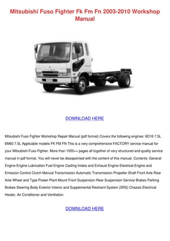 mitsubishi fuso fighter fk fm fn 2003 2010 wo by asia hafter issuu rh issuu com Mitsubishi Truck Repair Manual Mitsubishi Truck Repair Manual