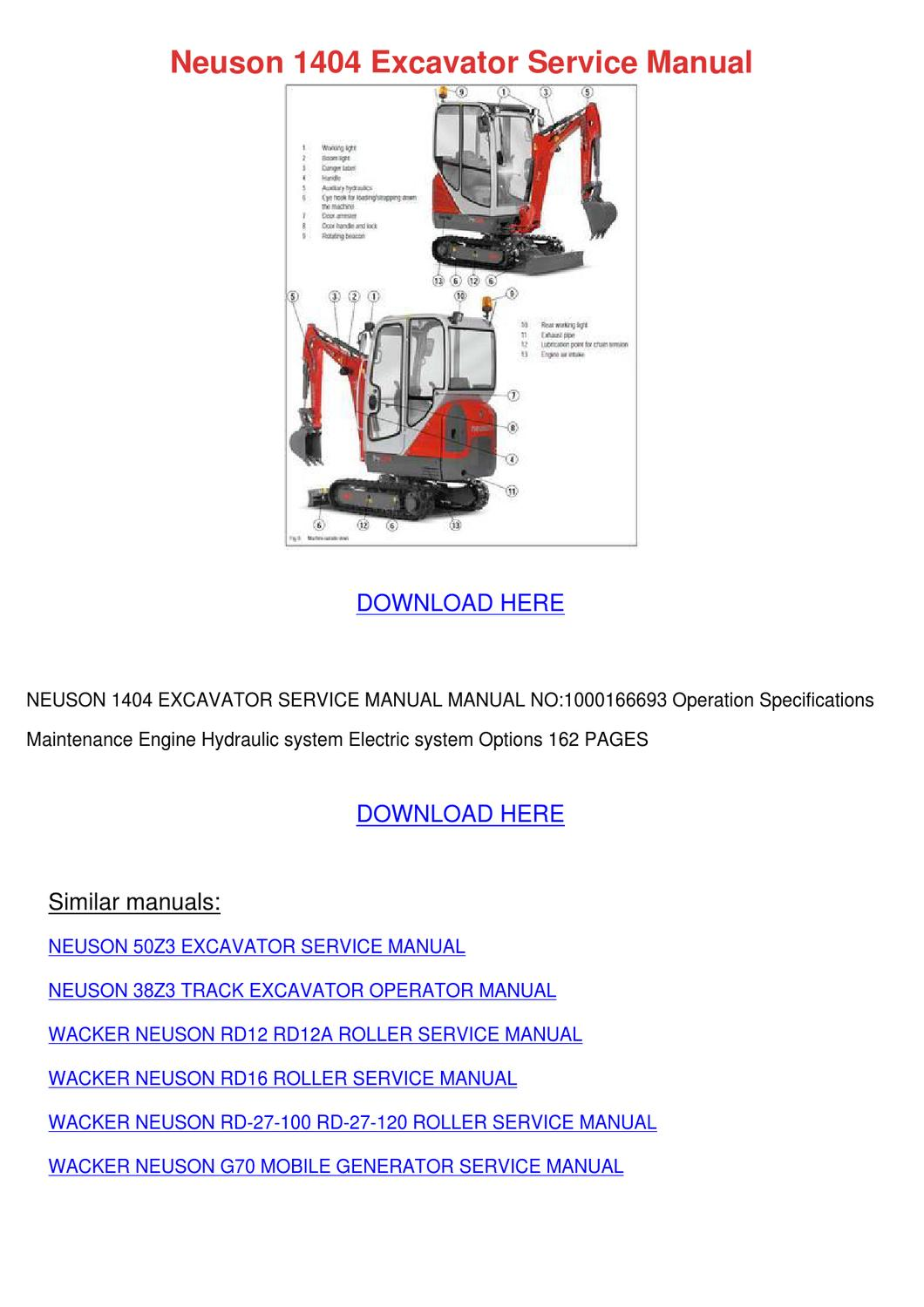 Neuson 1404 Excavator Service Manual By Asia Hafter