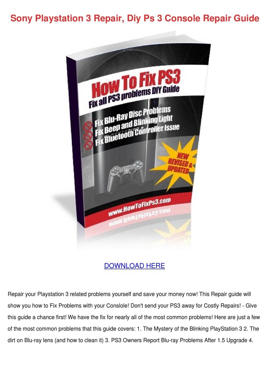 Sony Playstation 3 Repair Diy Ps 3 Console Re by Victor Massengale ...