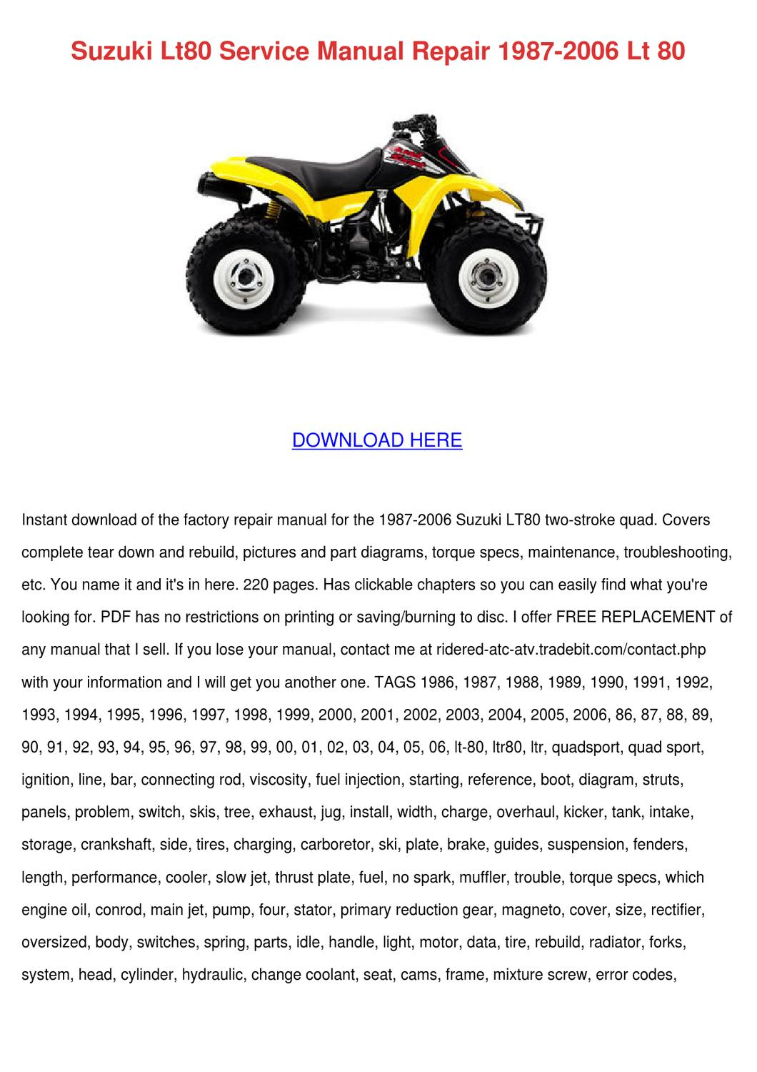 Suzuki Lt80 Service Manual Repair 1987 2006 L By Ona Wax Issuu