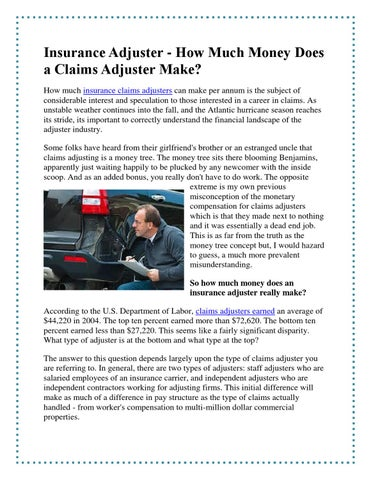 How Much Do Insurance Adjusters Make >> How Much Money Does A Claims Adjuster Make By Kritika Pandey Issuu