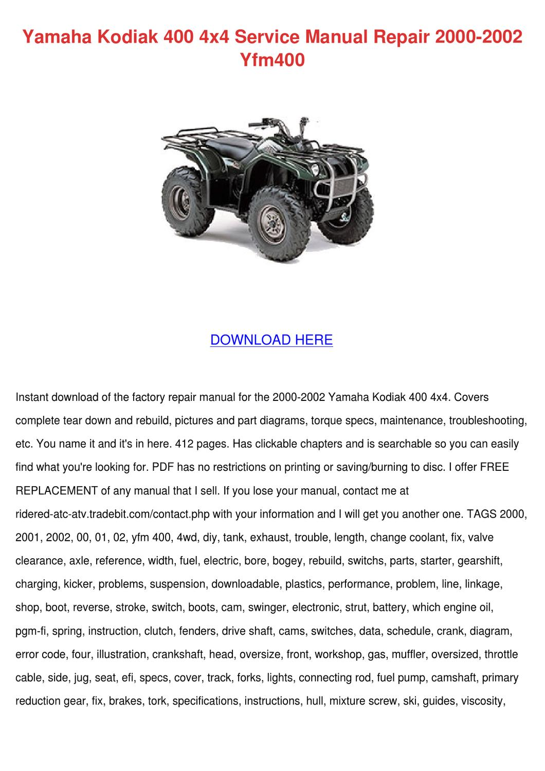Yamaha Kodiak 400 4x4 Service Manual Repair 2 By Ona Wax
