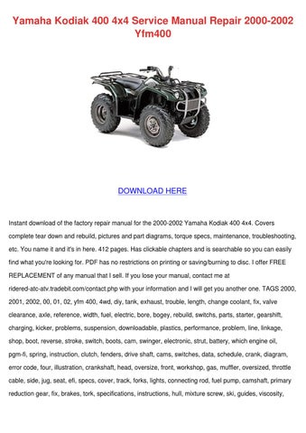 yamaha kodiak 400 4x4 service manual repair 2 by ona wax issuu rh issuu com 2000 yamaha kodiak 400 ultramatic service manual 2000 yamaha kodiak 400 4x4 repair manual
